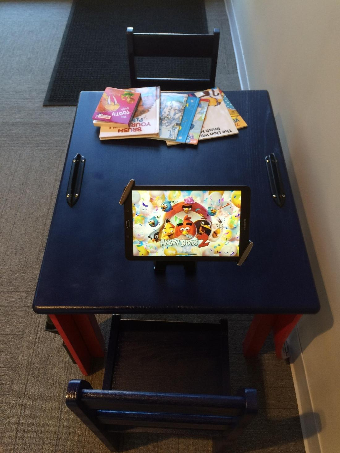 Tablet, books, and games for the kids!