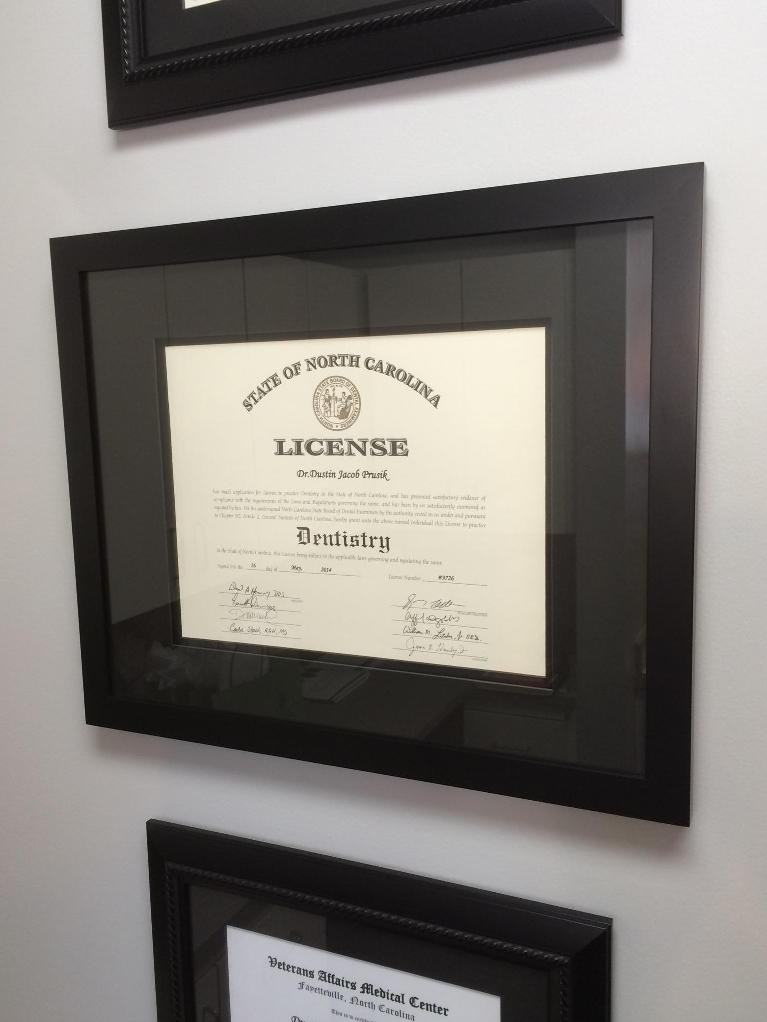 Dental License of Dr. Prusik at Olive Chapel Family Dentistry in Apex, NC
