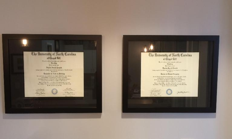 Diplomas for Olive Chapel Family Dentistry in Apex, NC